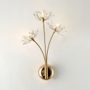 Creative Dandelion Sconce Light Metal 3 Heads Gold Wall Lamp with Glittering Crystal for Bedroom