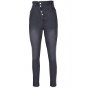 Summer Unique Turn-Down High Rise Button-Fly Grey Skinny Fitted Jeans for Women