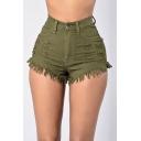 Summer Womens Trendy High Rise Stretch Fit Ripped Frayed Hem Denim Shorts