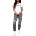 Trendy Distressed Knee Cut Ripped Hole Grey Straight Fit Jeans