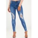 Womens Blue Distressed Ripped Raw Hem Stretch Skinny Fit Jeans
