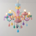 Resin Candle Hanging Light 5/6 Lights Kids Colorful Chandeleir with Crystal Deco for Nursing Room