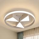 Kindergarten Toy Windmill Ceiling Light Acrylic 3 Heads Modern Gray/White LED Flush Light in Warm/White
