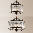 Metal Candle Suspension Light with Crystal Shade 3/5 Lights American Rustic Chandelier in Black for Villa