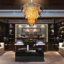 Luxurious Gold/Matte Black Chandelier Glittering Clear Crystal Hanging Light for Restaurant Villa