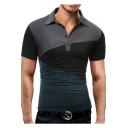 Mens Stylish Color Block Turn-Down Collar Short Sleeve Fitted Polo Shirt