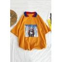 Guys Summer Cute Cartoon Cat Printed Contrast Collar Loose Casual Polo Shirt