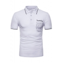 Simple Letter Embroidery Pocket Patched Contrast Tipped Collar Short Sleeve Slim Fit Polo Shirt