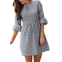 Womens Summer Stylish Vertical Stripe Printed Mini A-Line Smock Dress