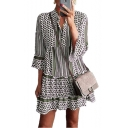 Womens Summer Fashion Striped Printed Three-Quarter Sleeve Mini A-Line Ruffled Dress