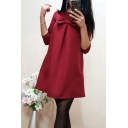 Womens Sweet Bow Embellished Round Neck Half Sleeve Plain Mini Swing Dress