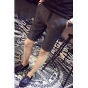 Men's Summer Fashion Stripe Pattern Drawstring Waist Black Casual Chino Shorts