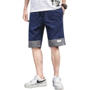 Stylish Color Block Letter Patchwork Drawstring Waist Men's Casual Cotton Shorts