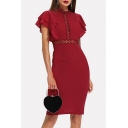 Womens Vintage Burgundy Hollow Out Detail Flutter Sleeve Elegant Midi Pencil Dress for Party