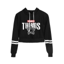 Popular Stranger Things Leaf Print Striped Long Sleeve Sport Loose Cropped Hoodie