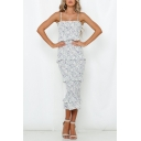 Womens Summer Fancy White Floral Printed Layer Ruffled Hem Maxi Bodycon Slip Dress