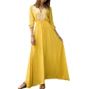 Summer Fashion Boho Style V-Neck Long Sleeve Drawstring Waist Maxi Yellow Swing Dress