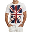 Mens Fancy Simple Flag Printed Round Neck Short Sleeve White T-Shirt