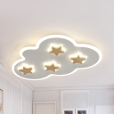 Nordic Style Gray/White Flush Mount Light Star Cloud Acrylic Warm/White LED Ceiling Fixture for Study Room