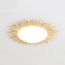 Beige Sun LED Ceiling Light Nordic Style Wood Flush Mount Light with Warm/White Lighting for Corridor