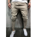 Stylish Pinstripe Pattern Contrast Patched Men's Fashion Casual Pencil Pants