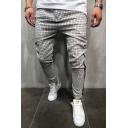 Fashion Plaid Pattern Contrast Knit Trim Striped Patched Pencil Pants
