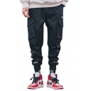 Street Style Letter Diagonal stripes Printed Flap Pocket Black Cotton Cargo Pants