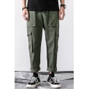 Men's Fashion Simple Plain Multi-pocket Rolled Cuffs Cotton Cargo Pants for Men