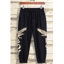 Men's Cool Fashion Eagle Letter Printed Drawstring Waist Black Cotton Sports Sweatpants