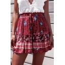 Summer Hot Fashion Ruffled Tied Waist High Rise Floral Print Mini A-Line Beach Skirt