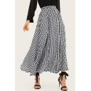 Classic Black and White Plaid Printed High Waist Maxi Beach Flowy Flared Skirt