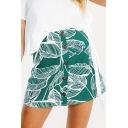 Summer Chic Leaf Printed Button Down Mini A-Line Skirt for Women