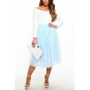 Girls New Stylish Simple Plain High Waist Midi Flared Tulle Skirt
