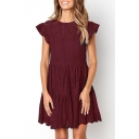 Womens Chic Hollow Out Round Neck Ruffled Sleeve Mini Plain A-Line Skirt