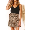 Summer Leopard Floral Print Tied Waist Mini Ruffled Wrap Skirt
