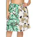 Women Plus Size Fashion Two-Tone Green and White Leaf Banana Print Midi A-Line Skirt