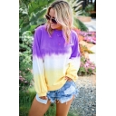 Womens Trendy Ombre Color Round Neck Long Sleeve Loose Pullover Sweatshirt