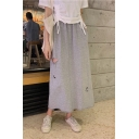 New Stylish Simple Plain Ripped Cutout Elastic Waist Maxi A-Line Skirt