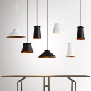 Cylinder/Cone/Tapered Shade Hanging Lamp Modern Simple 1 Head Pendant Light in Black/White