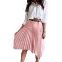 Summer Hot Fashion Simple Plain Midi Asymmetrical Pleated Skirt