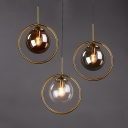 Circular Iron Shade Mini Pendant Light Post Modern 1 Light Hanging Lamp with Amber/Clear/Smoke Glass Inner Shade
