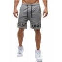 Summer Fashion Letter Printed Drawstring Waist Relaxed Sweat Shorts for Men