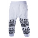 Summer Trendy Skull Geometric Stripe Printed Cotton Casual Sports Sweat Shorts for Men