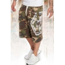 Men's Fashion Cool Skull Letter Camouflage Printed Drawstring Waist Loose Fit Casual Sports Sweat Shorts