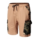 Men's Popular Fashion Camouflage Printed Flap Pocket Patched Drawstring Waist Men's Casual Cargo Shorts