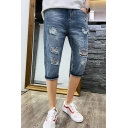 Men's Fashion Popular Destroyed Ripped Detail Slim Fit Light Blue Denim Shorts