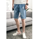 Fashion Simple Plain Ripped Detail Rolled Raw-edged Zip-fly Men's Casual Denim Shorts