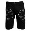 Summer New Fashion Graffiti Printed Men's Casual Straight Denim Shorts