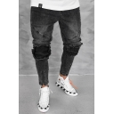Men's Cool Fashion Zip Cuff Knee Patched Pleated Detail Black Slim Fit Distressed Jeans
