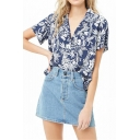 Summer Fashion Tropical Printed Notched Lapel Collar Short Sleeve Loose Chiffon Holiday Hawaiian Camp Shirt